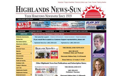 Screenshot of Support Page highlandstoday.com - Sun Newspapers Customer Service - captured Nov. 12, 2016