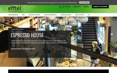 Screenshot of Home Page efftel.com - Home | Cloud-based solutions for your communications | Efftel - captured Sept. 27, 2018