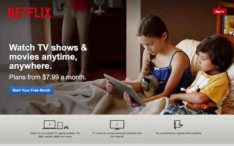 Screenshot of Home Page netflix.com - Netflix - Watch TV Shows Online, Watch Movies Online - captured Aug. 29, 2015