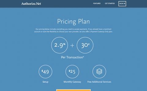 Screenshot of Pricing Page authorize.net - Authorize.Net Pricing - Authorize.Net - captured Sept. 30, 2015