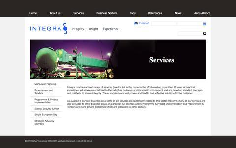Screenshot of Services Page integra.dk - Services | Integra - captured Oct. 3, 2014