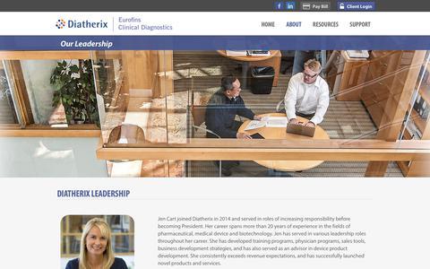 Screenshot of Team Page diatherix.com - Leadership | Diatherix Eurofins | Clinical lab testing services - TEM-PCR™ diagnostics - captured Nov. 14, 2018
