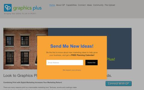 Screenshot of Home Page gpdelivers.com - Graphics Plus Marketing Support Services including Creative, Print, Multimedia and DistributionGP Provides Print Based Marketing Support - captured Sept. 30, 2018