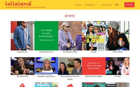 Screenshot of Press Page lollaland.com - Press - lollaland - captured Nov. 13, 2016