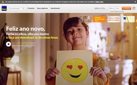 Screenshot of Home Page itau.com.br - Banco Itaœ - Feito Para Voc - captured Jan. 13, 2016
