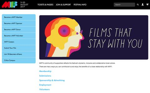 Screenshot of Signup Page miff.com.au - MIFF 2017 | Join & Support - captured May 3, 2017