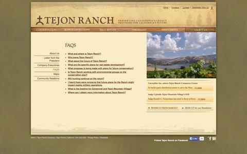 Screenshot of FAQ Page tejonranch.com - FAQs | Tejon Ranch - captured Oct. 7, 2014