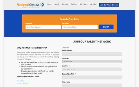 Screenshot of Signup Page nationalgeneral.com - Join our National General Insurance Talent Network - captured Feb. 21, 2018