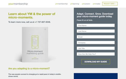 Screenshot of Landing Page yourmembership.com - Learn AbouttThe Power of Micro-moments | YourMembership - captured Sept. 25, 2016