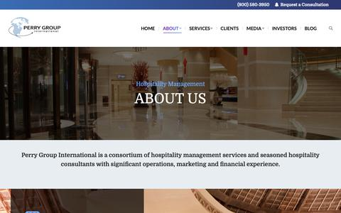 Screenshot of About Page perrygroup.com - About Perry Group International - Hotel Management Consultants - captured Dec. 14, 2018