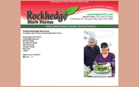 Screenshot of Contact Page rockhedgeherbs.com - Contact Rockhedge Herb Farms - captured Oct. 6, 2014