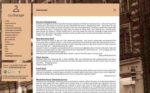 Screenshot of Testimonials Page coathanger.net - Testimonials – Coathanger - captured Sept. 30, 2014