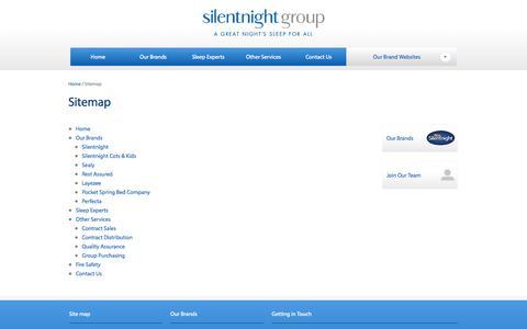 Screenshot of Site Map Page silentnightgroup.co.uk - Sitemap | Silentnight Group - captured Sept. 30, 2014
