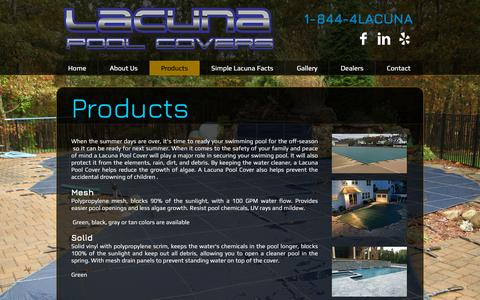 Screenshot of Products Page lacunapoolcovers.com - Lacuna Pool Covers Products - captured Sept. 26, 2018
