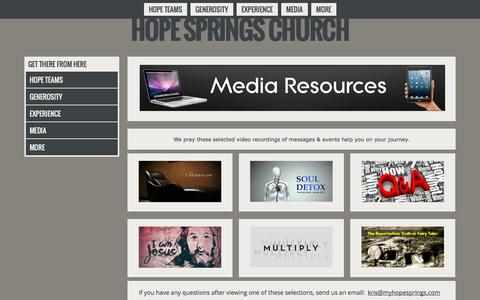 Screenshot of Press Page myhopesprings.com - Hope Springs ChurchMedia - captured Oct. 3, 2014