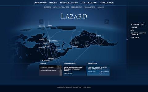 Screenshot of Home Page lazard.com - Lazard | Financial Advisory | Careers & Asset Management - captured Sept. 19, 2014