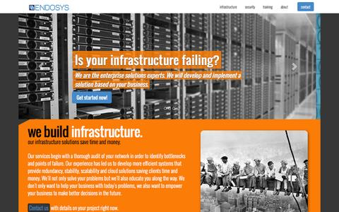 Screenshot of Home Page endosys.com - Endosys, LLC - Infrastructure Solutions, Secure Networks, IT Training - captured Oct. 1, 2014