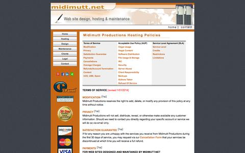 Screenshot of Terms Page midimutt.net - Midimutt.net - Terms of Service - captured Oct. 27, 2014