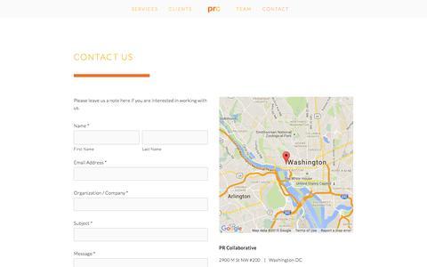 Screenshot of Contact Page prcollaborative.com - Contact Ń PR Collaborative - captured Dec. 6, 2015