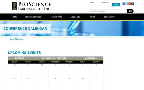 Screenshot of biosciencelabs.com - Conference Calendar |  Bioscience Labs - captured Nov. 26, 2017