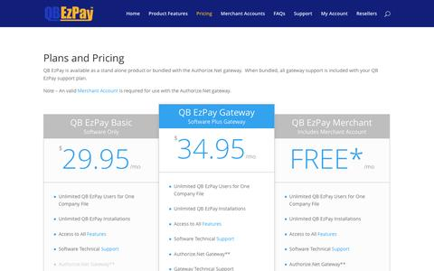 Screenshot of Pricing Page qbezpay.com - Pricing | QB EzPay - captured May 13, 2017