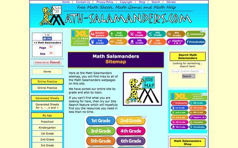 Screenshot of Site Map Page math-salamanders.com - Math Salamanders Sitemap - captured Sept. 22, 2018