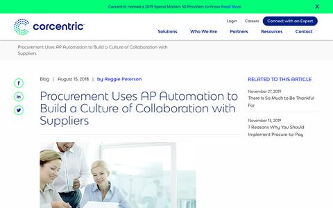 Screenshot of Case Studies Page corcentric.com - Procurement Uses AP Automation to Build a Culture of Collaboration with Suppliers | Corcentric - captured Nov. 27, 2019