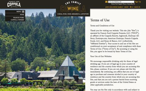 Screenshot of Terms Page francisfordcoppolawinery.com - Francis Ford Coppola Winery - captured June 6, 2017
