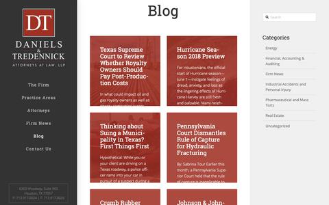 Screenshot of Blog dtlawyers.com - Houston Texas Law Practice News | Daniels & Tredennick - captured Nov. 1, 2018