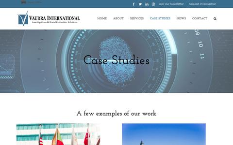 Screenshot of Case Studies Page vaudra.com - Case Studies | Vaudra International - captured Oct. 18, 2018