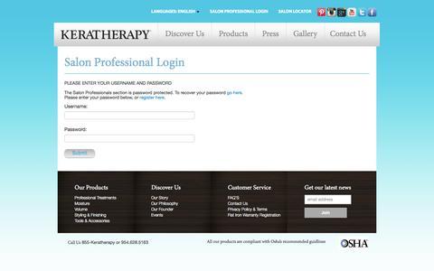 Screenshot of Login Page keratherapy.com captured Sept. 30, 2014