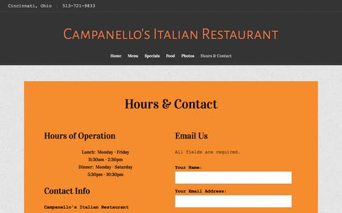 Screenshot of Hours Page campanellos.com - Cincinnati, Ohio Restaurant | Hours & Contact | Campanello's Italian Restaurant - captured June 18, 2016