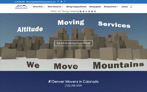 Screenshot of Home Page altitudemoversdenver.com - Denver Movers   Moving Company   Altitude Movers Denver - captured Dec. 24, 2015