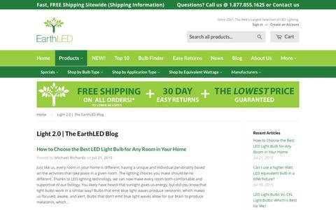 Screenshot of Blog earthled.com - Light 2.0 | The EarthLED Blog. LED Lighting News, Tips and Reviews – EarthLED.com - captured Jan. 21, 2016
