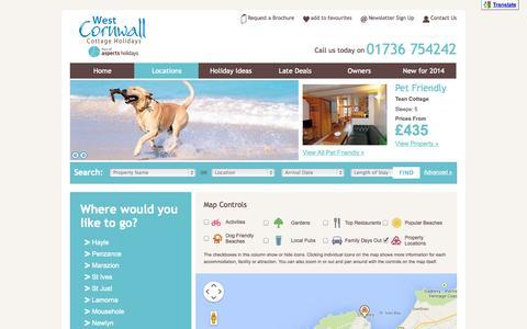 Screenshot of Locations Page westcornwallcottageholidays.com captured Oct. 7, 2014
