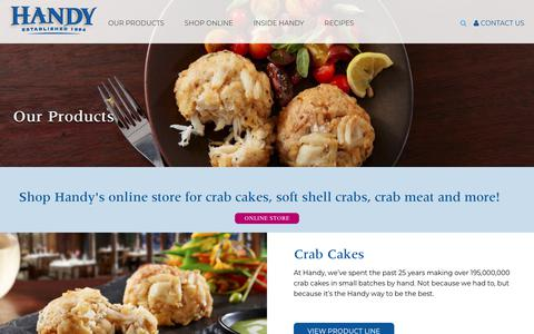 Screenshot of Products Page handycrab.com - Our Products | Handy Crab - captured Sept. 27, 2018