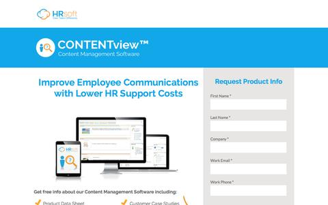 Screenshot of Landing Page hrsoft.com - Content Management Software by HRsoft - captured Sept. 6, 2016