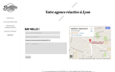 Screenshot of Contact Page blackthornsdesign.com - Agence réactive Lyon - Contact et demande de devis - captured Oct. 5, 2014