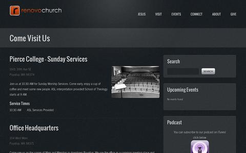 Screenshot of Locations Page renovochurch.com - Locations   Renovo Church - captured Oct. 26, 2014