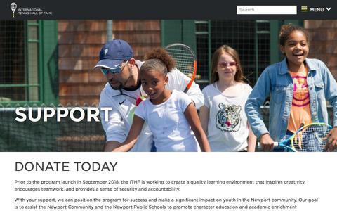 Screenshot of Support Page tennisfame.com - TeamFAME Support - captured Sept. 19, 2018