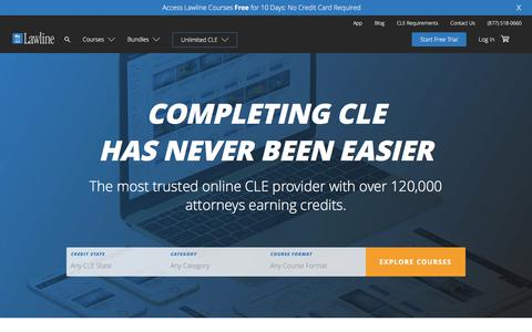 Screenshot of Home Page lawline.com - Lawline | Online CLE - Continued Legal Education - captured Sept. 22, 2018