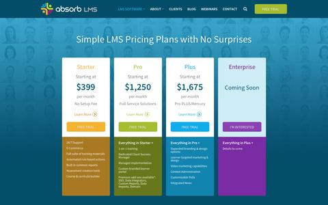 Screenshot of Pricing Page absorblms.com - Our Learning Management System Software Pricing | Absorb LMS - captured Nov. 11, 2016