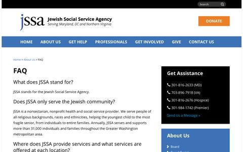 Screenshot of FAQ Page jssa.org - Frequently Asked Questions (FAQs) About JSSA | Jewish Social Service Agency - captured Oct. 16, 2017