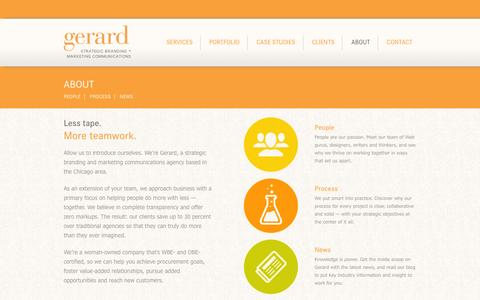 Screenshot of About Page gerardagency.com - Chicago Interactive Design & Development Agency | Gerard in Warrenville, Illinois - captured Sept. 29, 2014