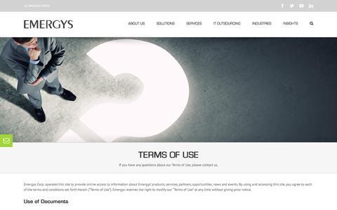 Screenshot of Terms Page emergys.com - Terms of Use - Emergys Corp. - captured Oct. 9, 2016