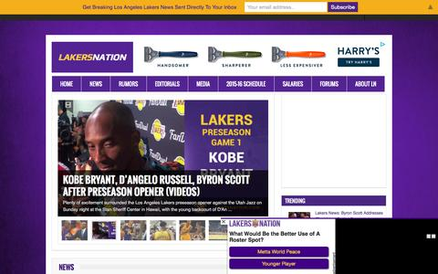 Screenshot of Home Page lakersnation.com - Lakers Nation - Lakers News, Rumors & Schedule for Laker Fans Everywhere - captured Oct. 5, 2015