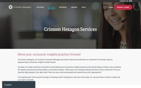 Screenshot of Services Page crimsonhexagon.com - Services – Crimson Hexagon - captured June 19, 2018