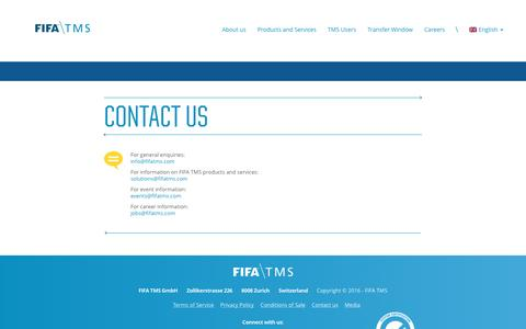 Screenshot of Contact Page fifatms.com - Fifa TMS – Contact - captured Nov. 24, 2016
