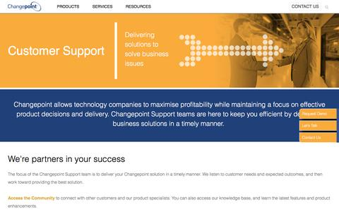 Screenshot of Support Page changepoint.com - Customer Support: Here for you | Changepoint - captured March 9, 2017