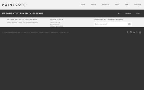 Screenshot of FAQ Page pointcorp.com.au - FAQ - Pointcorp Development | Brisbane - captured Nov. 5, 2018